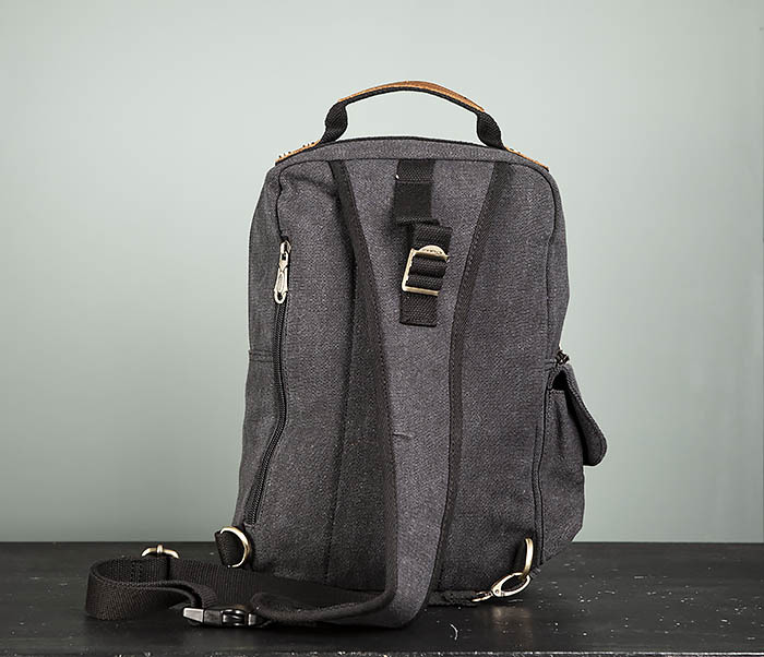 BAG394-1 Черный компактный рюкзак с одной лямкой через плечо фото 07