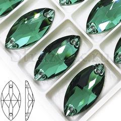 Купить пришивные стразы оптом дешево Emerald зеленые, Navette