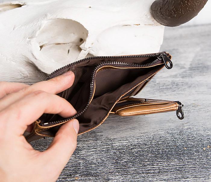 WL285-2 Мужской кошелек из натуральной кожи на молнии фото 09