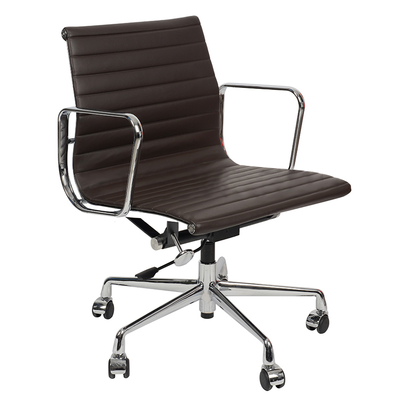 Кресло Eames Style Ribbed Office Chair EA 117 кофейная кожа - вид 1