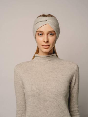 Женская повязка на голову цвета серый меланж из кашемира - фото 5