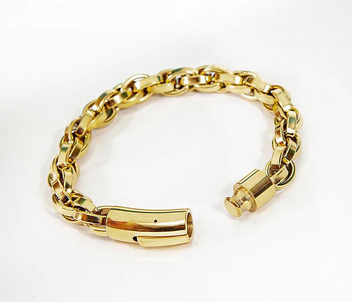 BM539-2 Крупный браслет цепь из стали золотистого цвета фото 04