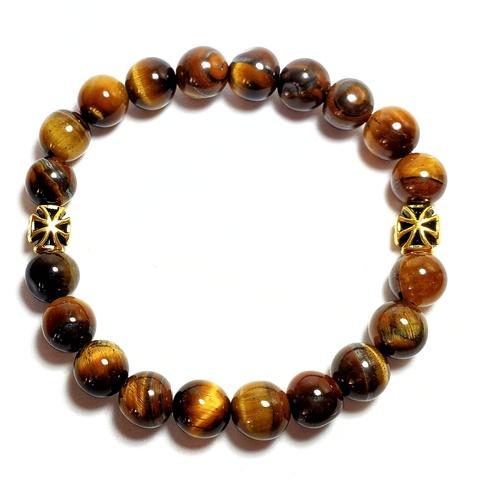 Браслет четки православные из натуральных камней тигрового глаза с крестом на руку. На резинке. 20 бусин