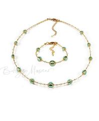 Комплект Примавера изумрудный (ожерелье, браслет)