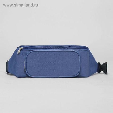 Сумка поясная на молнии, 1 отдел, наружный карман, цвет синий