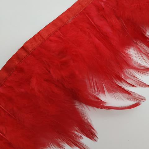 Тесьма  из перьев петуха h- 8-10см., красный