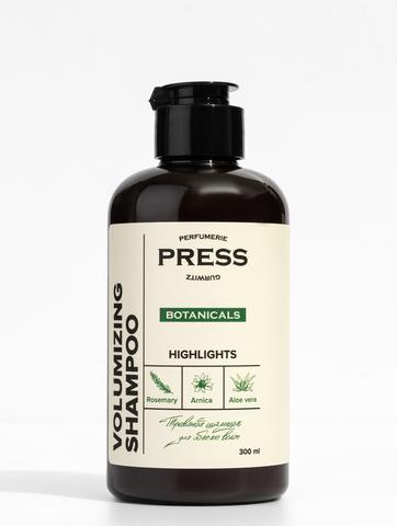 PRESS GURWITZ BOTANICALS Шампунь для объема волос с ароматом черной смородины и мяты для истонченных волос натуральный, бессульфатный 300 мл