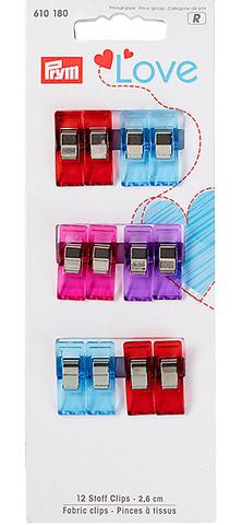 Прищепки малые Prym Love для работы с тканями, 12 шт (Арт. 610180)