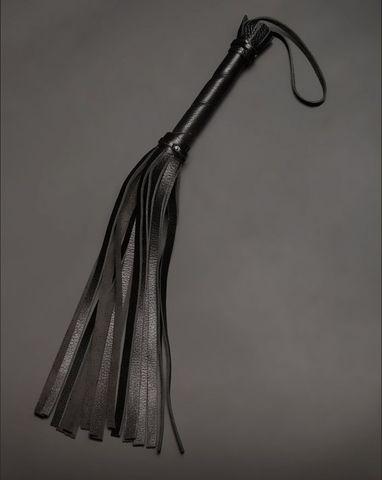 Чёрная кожаная плеть с 22 хвостами - 40 см.