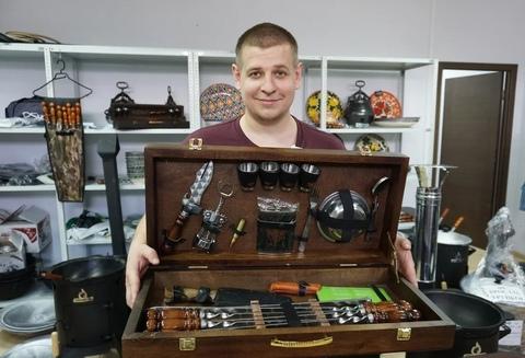 """Набор шампуров в деревянной коробке """"Кабан"""" №1"""