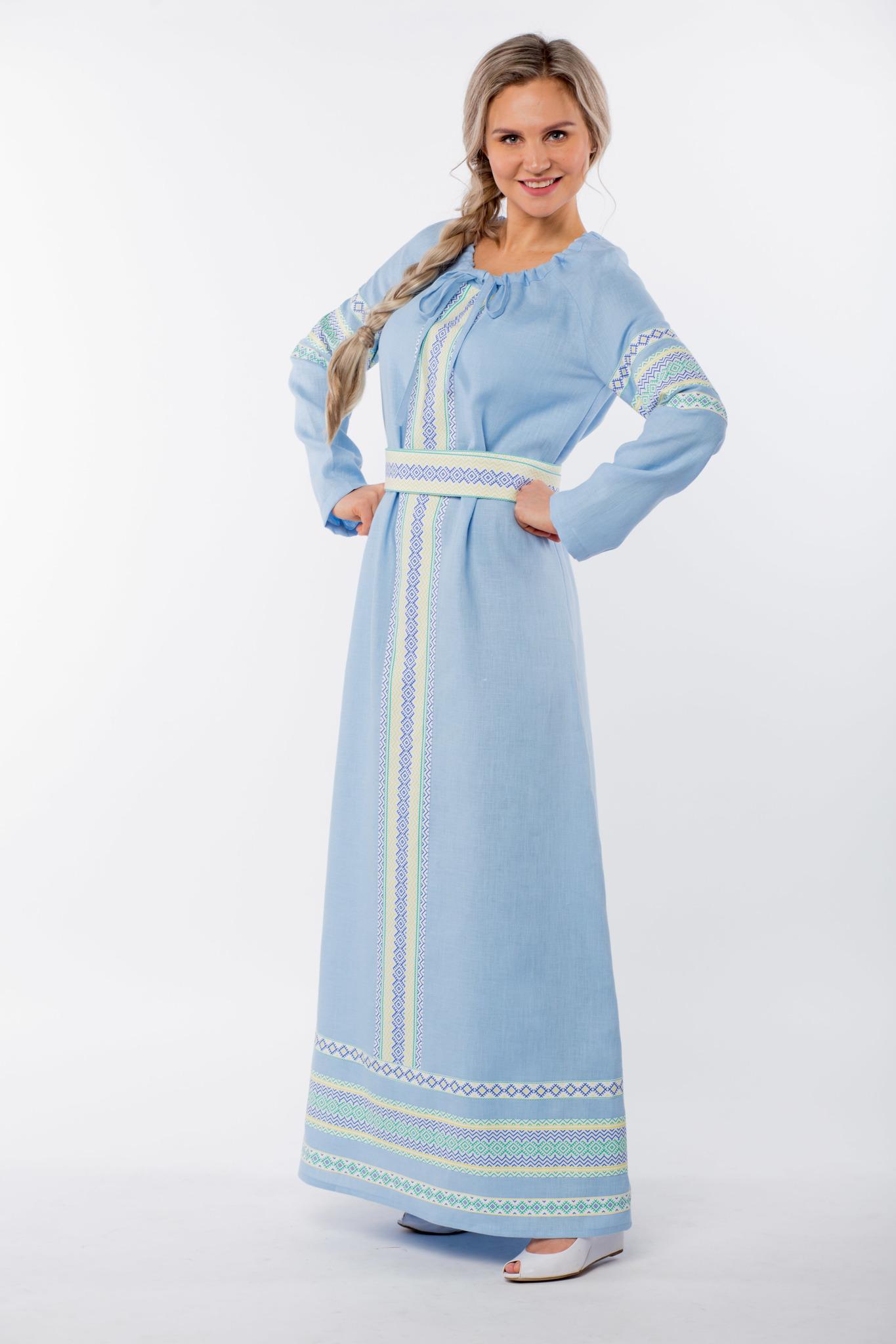Традиционное платье Чистый родник из льна