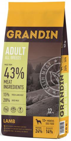 3 кг. Grandin Adult All Breeds сухой корм для взрослых собак всех пород, с ягненком