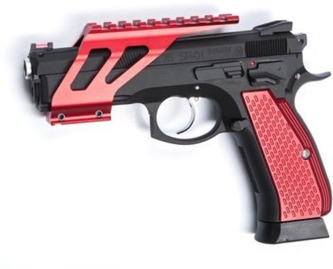 Планка для аксессуаров для CZ SP-01 SHADOW красная (накладки в комплект не входят) (артикул 18516)