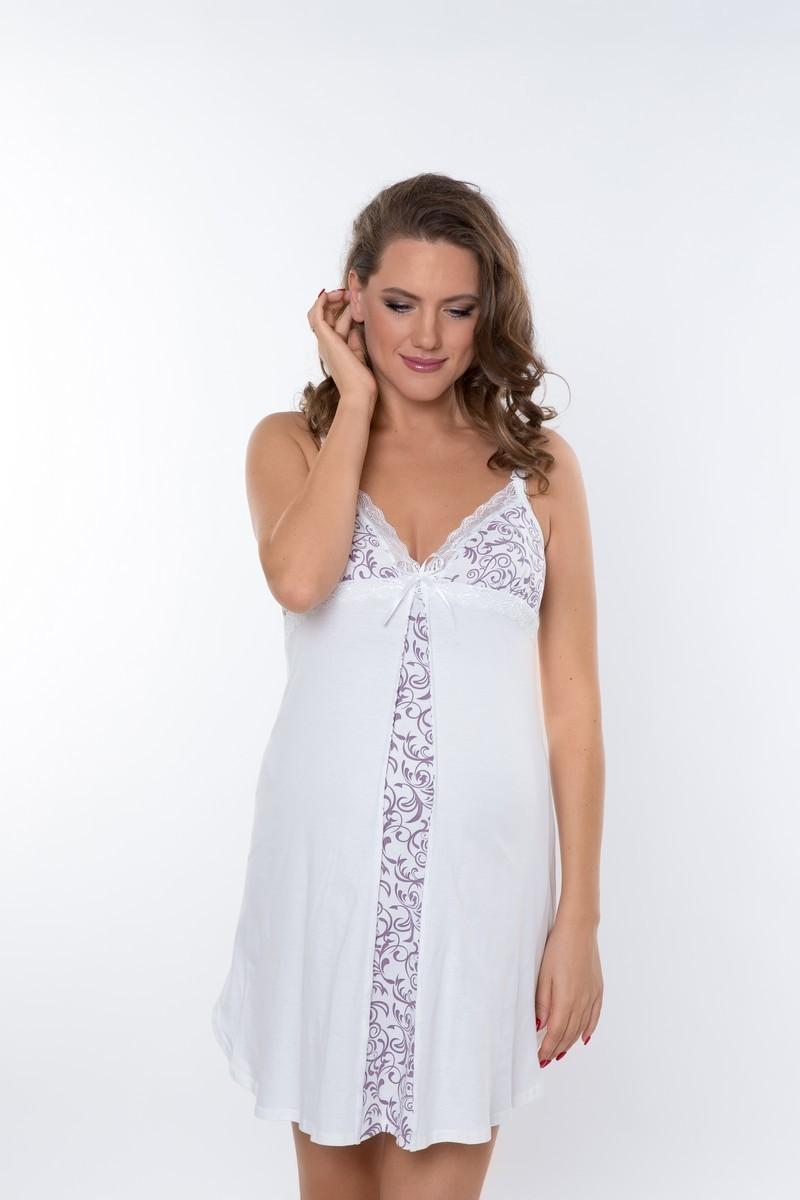 Комплект для беременных и кормящих с халатом и сорочкой 08114 белый-бежевый