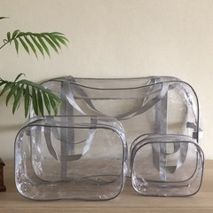 Прозрачная сумка в роддом с 2 косметичками, серая, вид 2