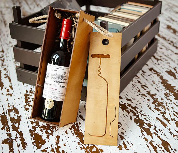 BOX243 Подарочная коробка для вина «Штопор» (33*10*10,5 см) фото 03