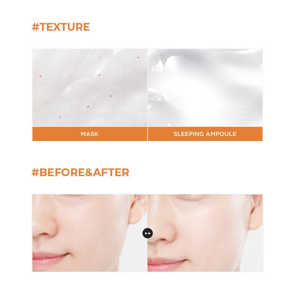 Набор из 11 тканевых масок и 11 ночных ампул для тусклой и сухой кожи NIACIN PEARL+COCONUT OIL+PINK ROSE