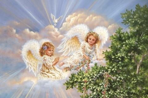 Алмазная Мозаика 50x65 Белокурые ангелочки у дерева