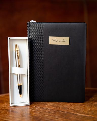 Набор с гравировкой: Ежедневник недатированный и Шариковая ручка Parker IM Metal, цвет: Brushed Metal GT