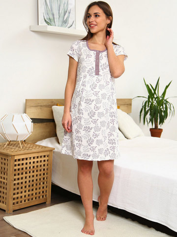 Мамаландия. Сорочка для беременных и кормящих с кнопками короткий рукав, веточки/белый