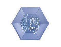ПД Тарелки бумажные, Happy B'day! Синий, 20 см, 6шт, 1  уп.