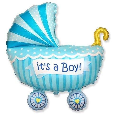 Фигурный шарик из фольги Коляска - Это Мальчик!