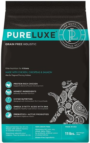 PureLuxe Elite Nutrition for kitten wits chicken, chickpeas & salmon