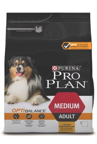 Сухой корм Purina Pro Plan для взрослых собак средних пород, курица с рисом