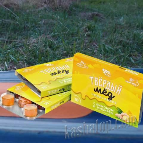 Твёрдый мёд с лимоном и имбирём