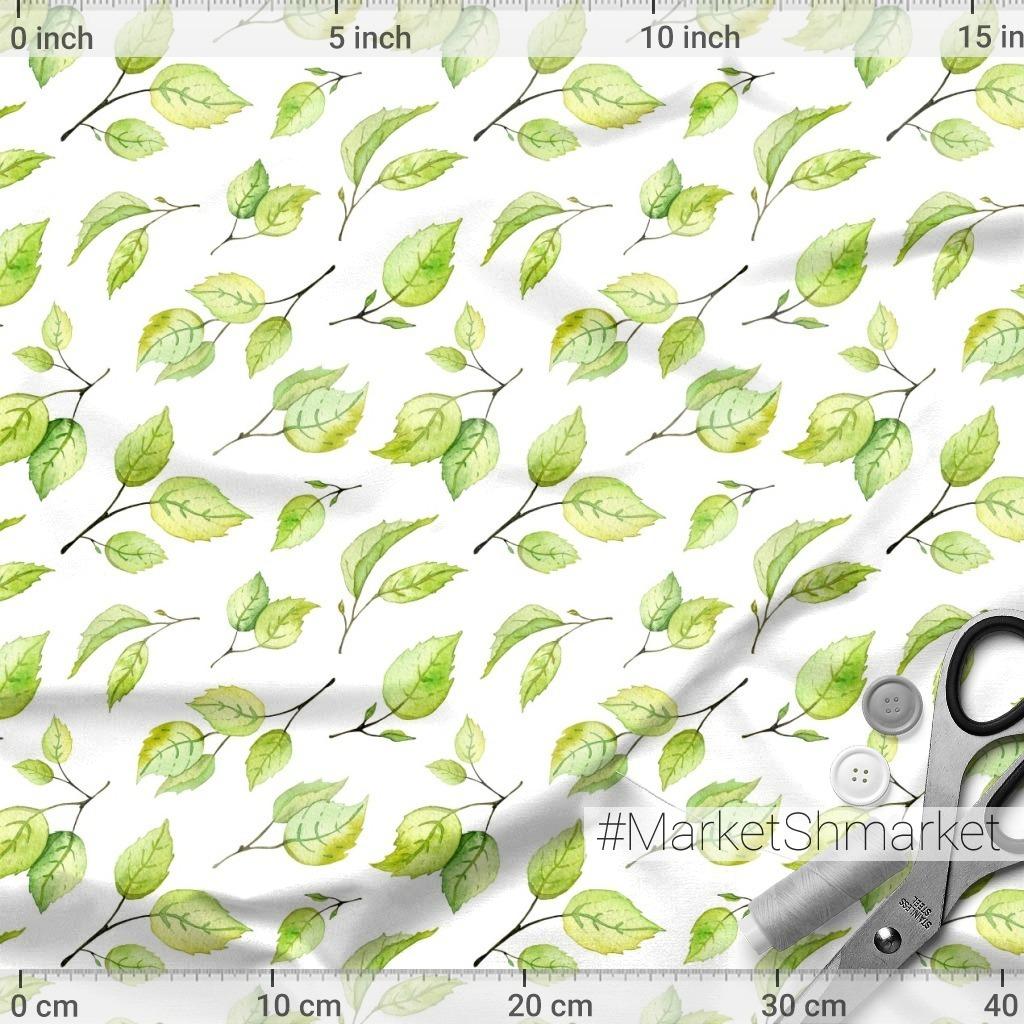 Зеленые листочки на белом фоне