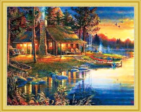 Алмазная Мозаика 40x50 Закат у рыбацкого домика (арт. MGL3216)