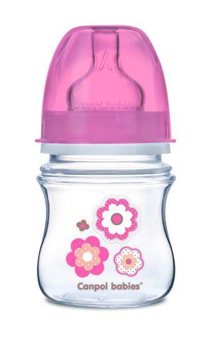 Canpol babies. Бутылочка EasyStart c широким горлышком, РР, антиколиковая 120 мл 0м+, розовая