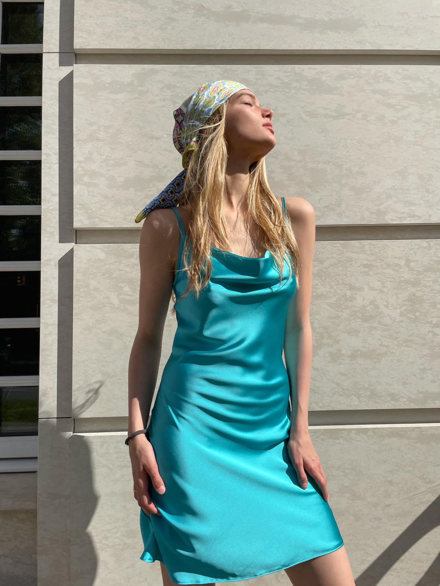 Платье-комбинация из атласа укороченная (летик)