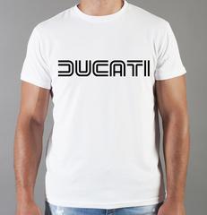 Футболка с принтом Ducati (Дукати) белая 008