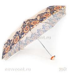 Компактный зонтик бежевый с синими узорами в стиле Гжель, Арт Рейн