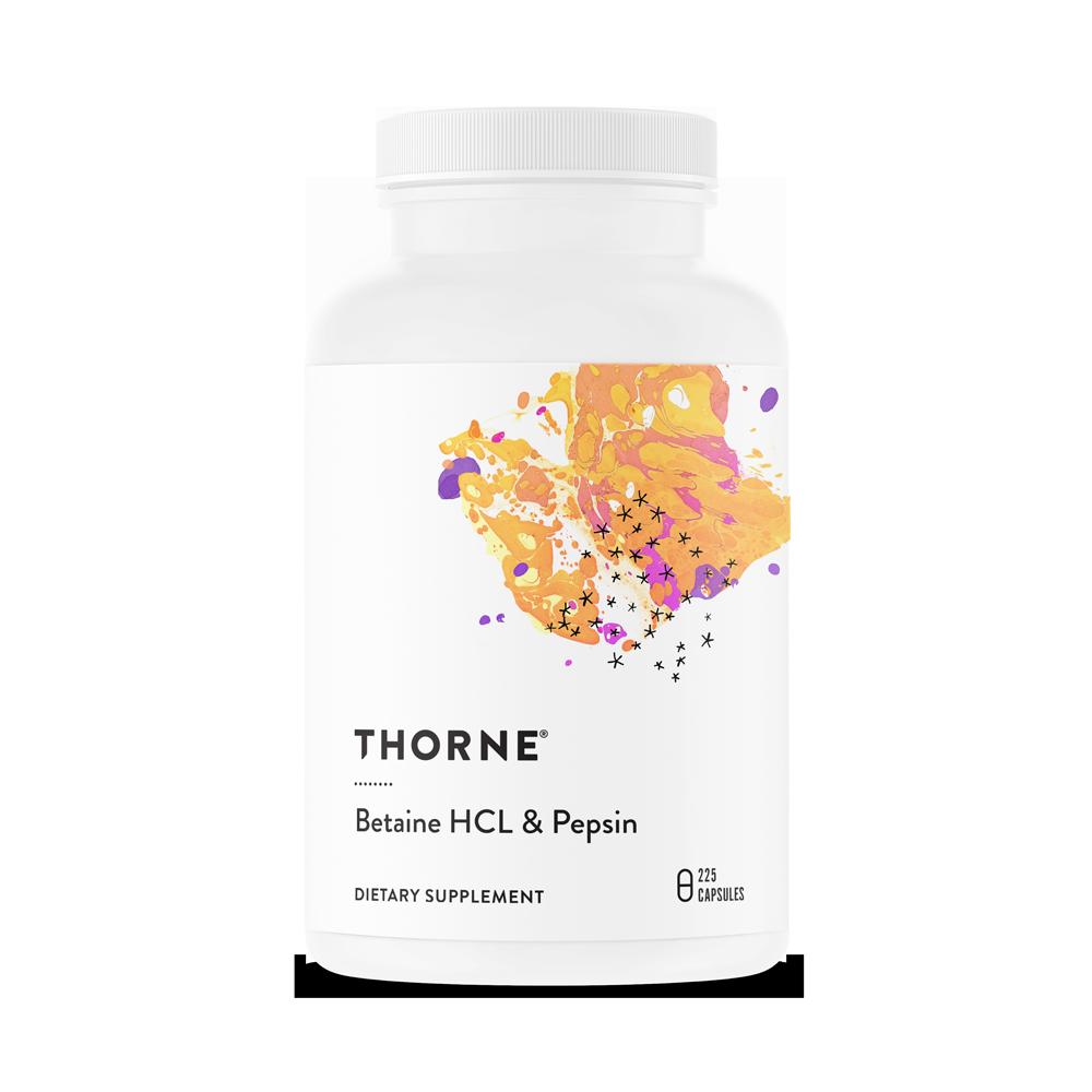 Бетаингидрохлорид и пепсин, BETAINE HCL/PEPSIN, Thorne Research, (225 капсул)