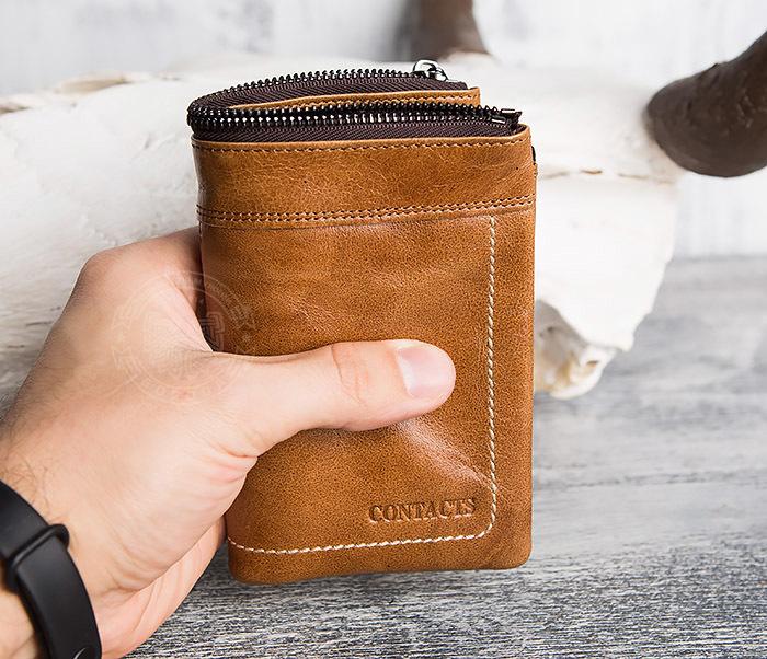 WL285-2 Мужской кошелек из натуральной кожи на молнии фото 12