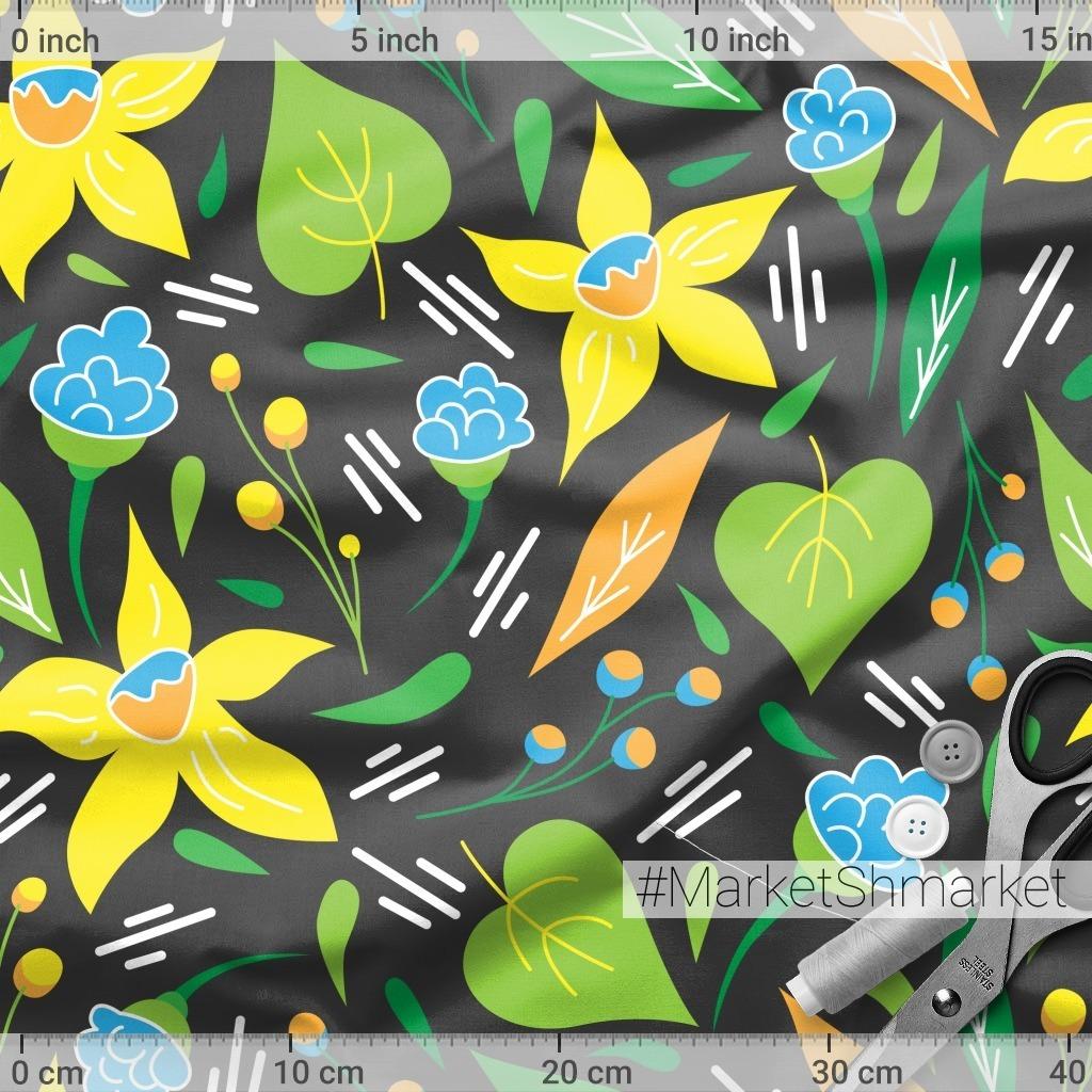 Нарциссы и полевые цветы на черном