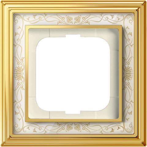 Рамка на 1 пост. Цвет Латунь полированная, белая роспись. ABB(АББ). Dynasty(Династия). 1754-0-4570