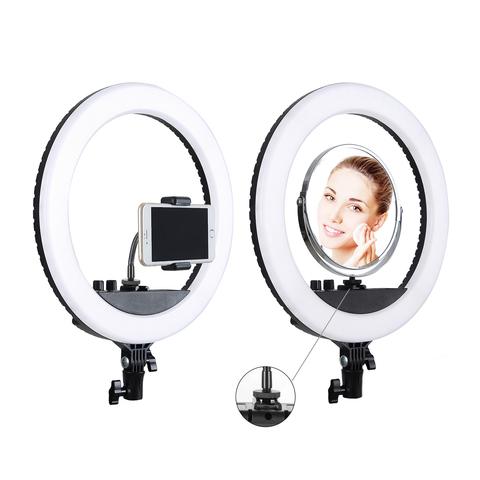 Кольцевая селфи-лампа держателем для смартфона на штативе, диаметр 26см