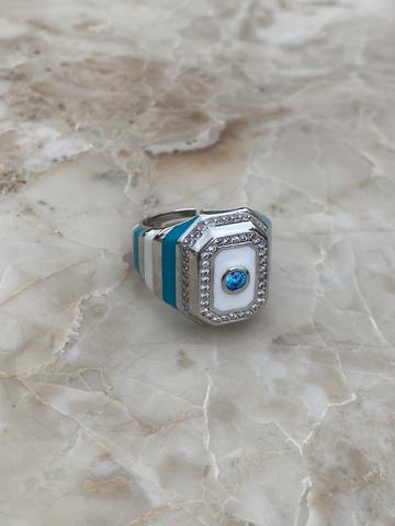Кольцо-печатка из серебра с голубой и белой эмалью и голубым цирконом