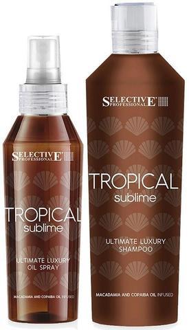 Набор Tropical Sublime, Selective ,(шампунь-гель для кожи и волос после пребывания на солнце 250 мл+Несмываемое защитное масло-спрей 100мл)