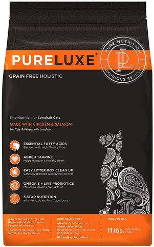 PureLuxe Elite Nutrition for longhair cats with chicken & salmon