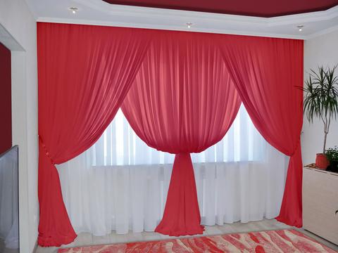 Комплект штор из вуали Клеопатра красный