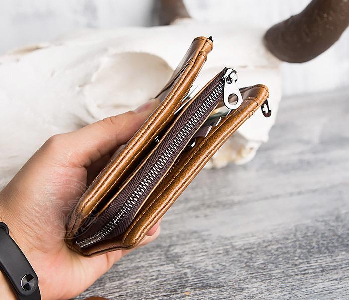 WL285-2 Мужской кошелек из натуральной кожи на молнии фото 14