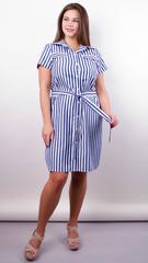 Ірина. Стильна сукня-сорочка великих розмірів. Смуга синя.
