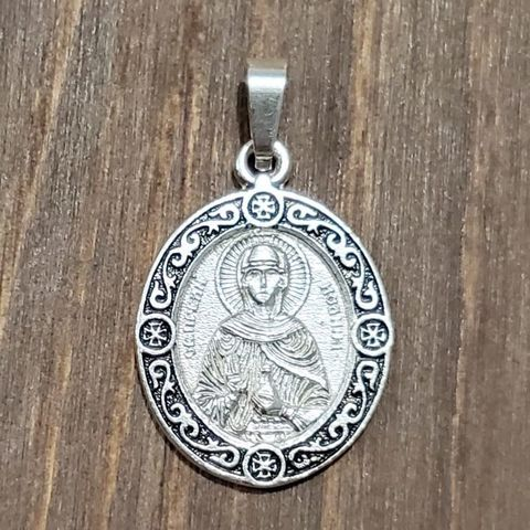Нательная именная икона святая Иоанна (Яна, Жанна) с серебрением кулон медальон с молитвой