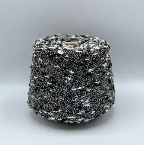 Бобинная пряжа (пр.Италия) ,600 м / 100 гр.Полиамид, цвет-Черный+белый, арт.9700