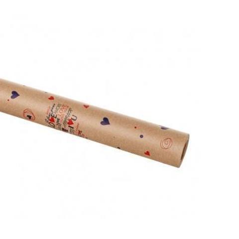 Бумага упаковочная крафт Сердца 60гр, 70 см 10 м, 0,420 кг, ассорти/натуральный