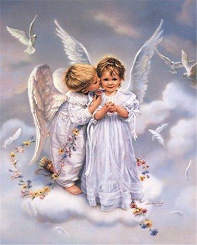 Алмазная Мозаика 50x65 Поцелуй ангелочков